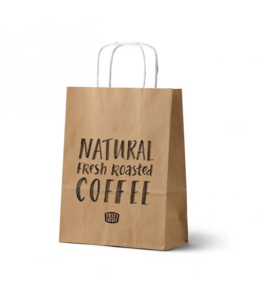 Купить Фирменный бумажный пакет с ручками в Интернет-магазин кофе и чая TastyCoffeeSale.KZ в Казахстане.